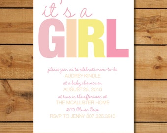 Invitation Baby Shower Girl - It's a Girl