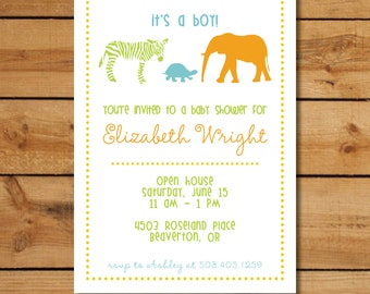 Baby Shower Jungle Invitations - Baby Animals (Boy)