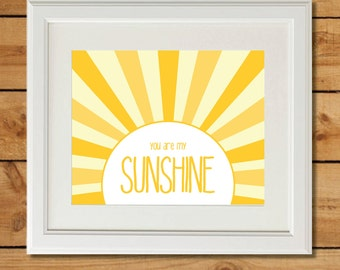 Sunshine Baby Shower Gift - You Are My Sunshine Wall Art - Printable Nursery Art - Instant Download - Yellow Printable
