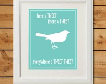 Bird Nursery Art - Digital Art Print - Everywhere a Tweet Tweet