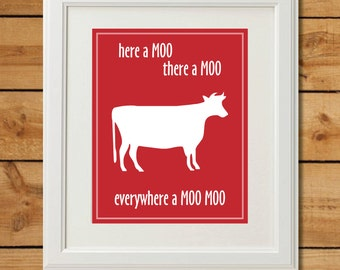 Cow Nursery Art - Digital Art Print - Everywhere a Moo Moo