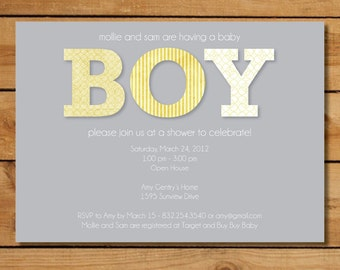 Baby Boy Modern Baby Shower Invitation - Yellow and Gray