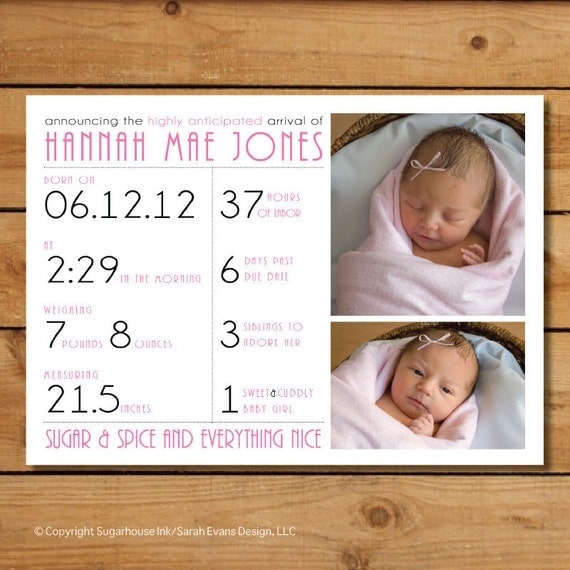 Baby Girl Birth Announcement Photo Card - Stats