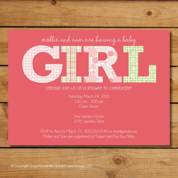 Baby Girl Baby Shower Invitation - Pink and Green