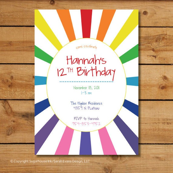Rainbow Birthday Party Invitations - Rainbow Burst