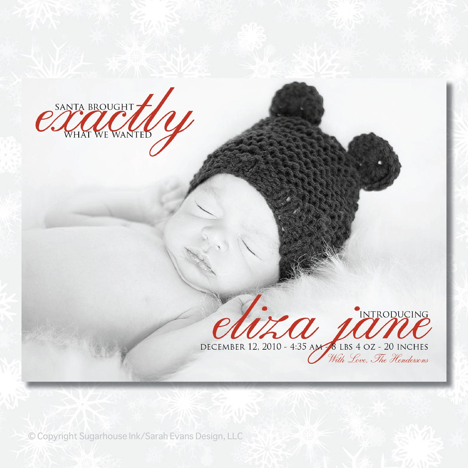 Christmas Birth Announcement Santa Brought Custom – Birth Announcement Christmas Cards