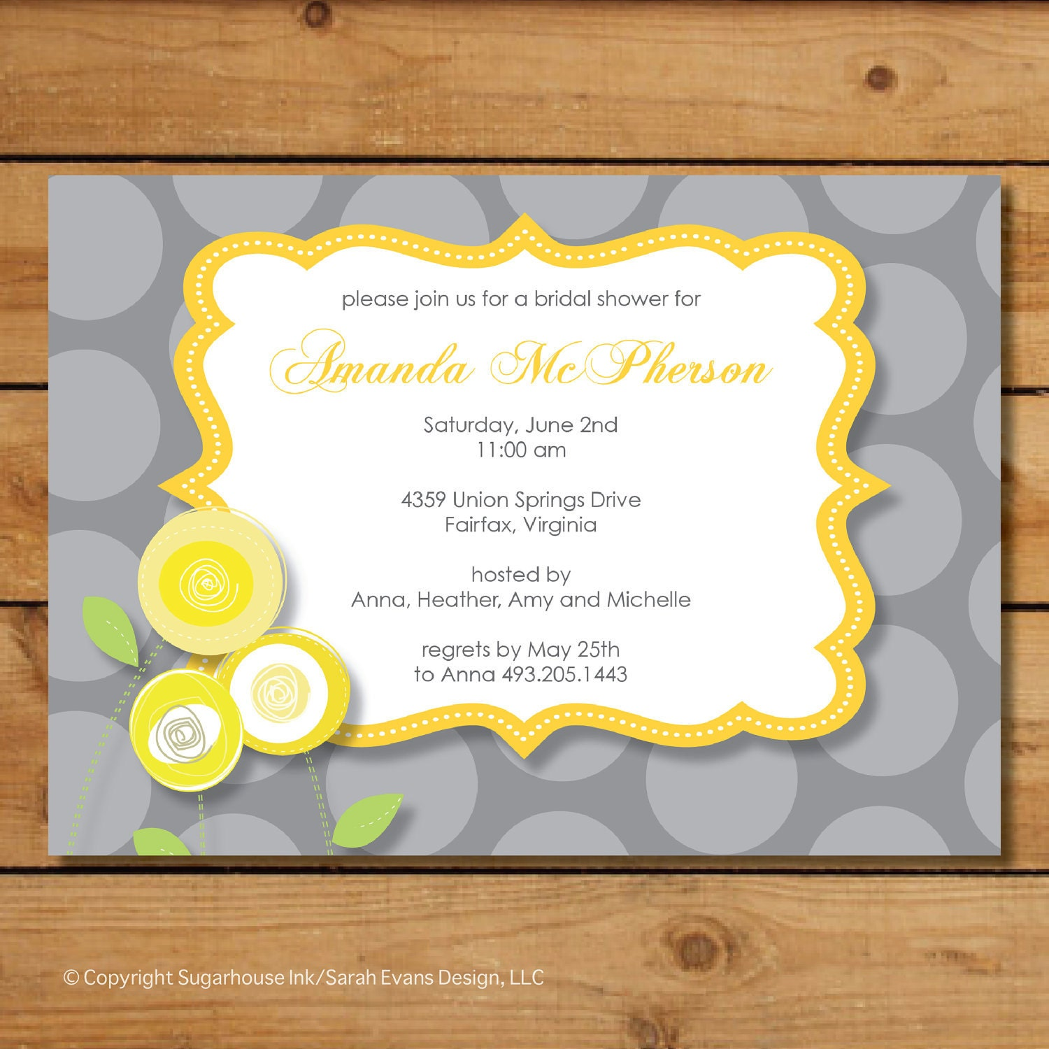 Yellow and gray bridal shower invitation yellow rosebud for Yellow bridal shower invitations