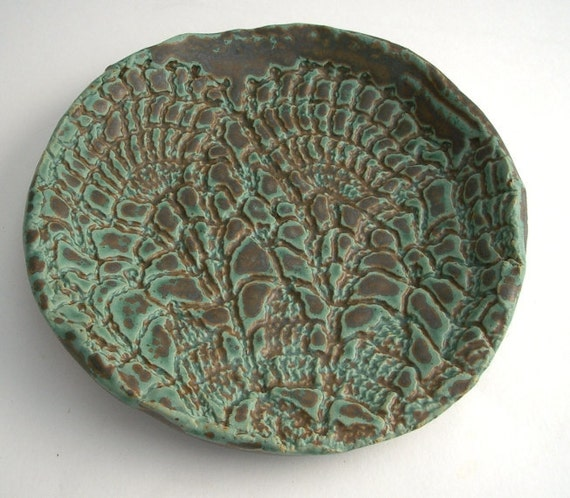 Blue Green Stoneware Dish with Vintage Doily Imprint