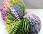 "Snuggle in ""Lotus Leaf,"" Hand Dyed DK Weight Superwash Merino SIngle, 1-ply"