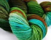 "Snuggle in ""Rainforest,"" Hand Dyed DK Weight Superwash Merino SIngle, 1-ply"
