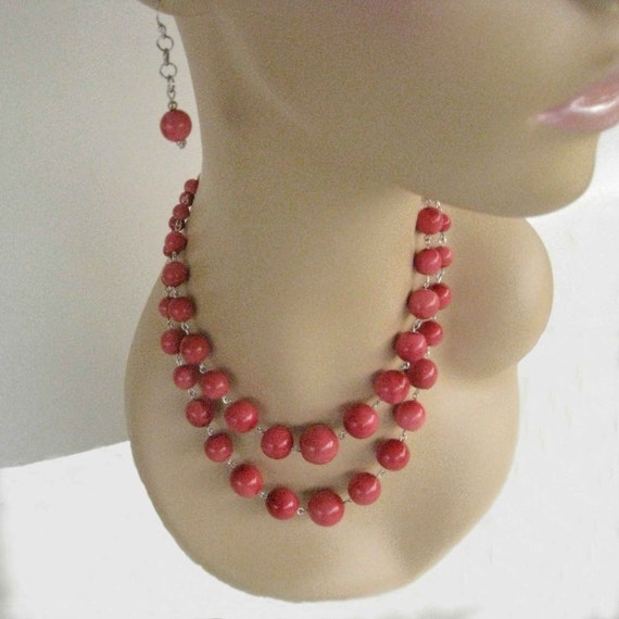 Cute Pink Double Strand Necklace and Dangly Earring Set FREE USA Shipping