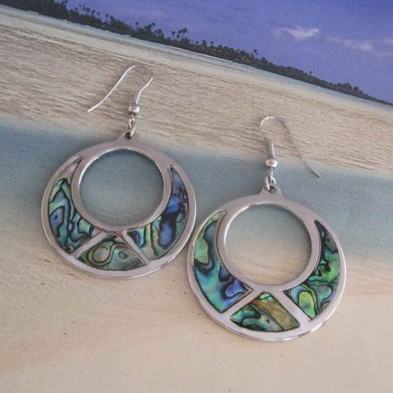 Vintage Abalone Shell Hoop Earrings FREE USA Shipping