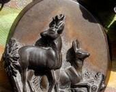 Cervidae-antique vintage carved gutta percha bog oak deer assemblage necklace