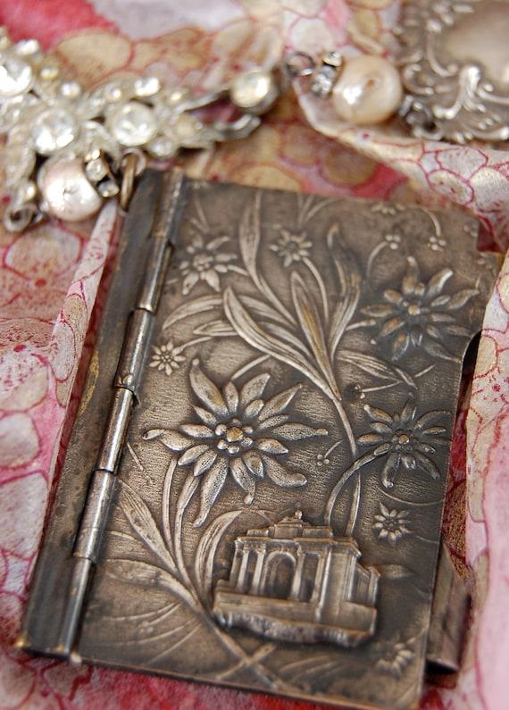 The Notebook-antique vintage souvenir notebook assemblage necklace