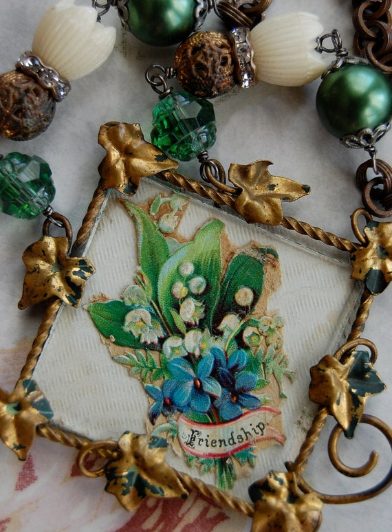 RESERVED Friendship-antique vintage victorian greeting card assemblage necklace