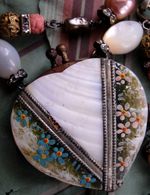 Keepsake-antique vintage mother of pearl coin purse assemblage necklace