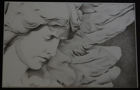 Mourning Angel-original free hand pencil drawing