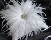 White Ring Bearer Pillow - White Silk Ring Bearer Pillow with Ostrich Feathers