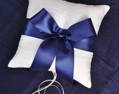Navy and Ivory Silk Ring Bearer Pillow