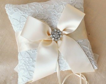 Ivory Ring Bearer Pillow with Cream Ribbon - Alencon Lace with Rhinestones
