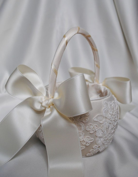 Vintage Lace Collection - Ivory Alencon Lace Flower Girl Basket