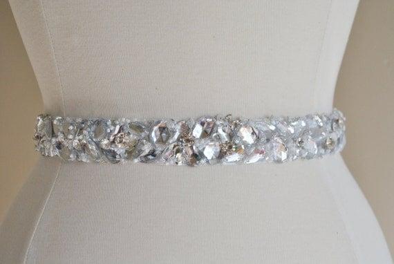 Rhinestone Beaded Bridal Sash - Crystal Rhinestone Wedding Belt