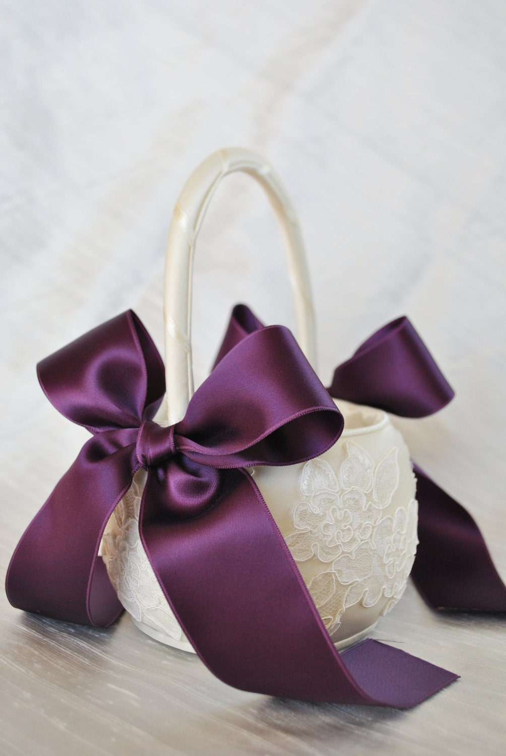 Purple Flower Girl Basket Purple and Ivory by weddingsandsuch