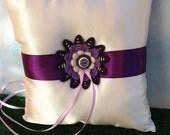 Felt and Button Flower Ring Bearer Pillow