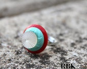 White, Aqua and Red Vintage Button Ring