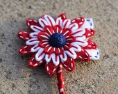 Red White and Blue Felt Button Corsage