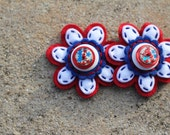 Red White and Blue Felt Button Shoe Clips