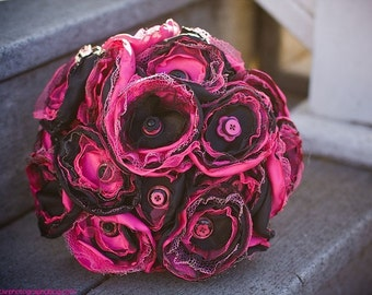 Tickled Pink and Black Satin Button Bouquet