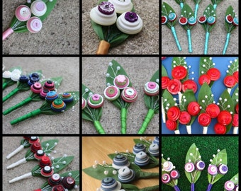 Custom Button Boutonniere - Your Colors