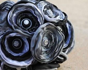 SALE: Silver Black and White Satin Button Bouquet