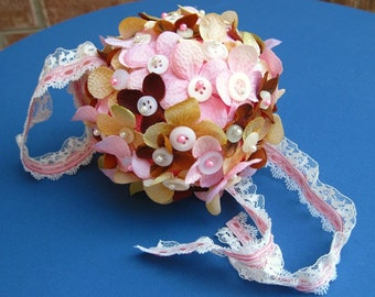 SALE - Victorian Pink and Brown Pomander - Kissing Ball
