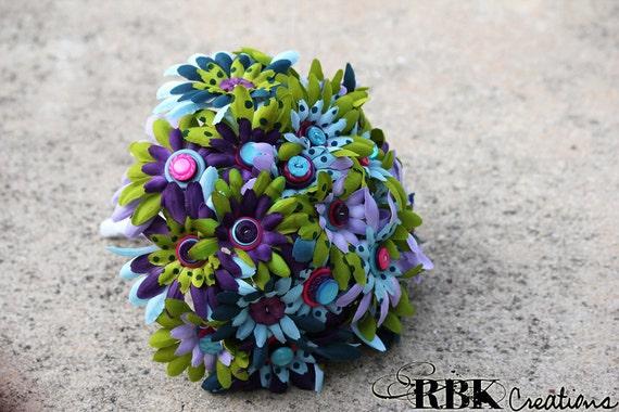 Green, Blue and Purple Polka Dot Bridal Button Bouquet