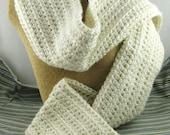 Irish Cream off white Alpaca Blend Crochet Scarf ... awesome for men or women