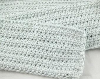 Sky Blue Alpaca Blend Crochet Scarf ... awesome for men or women