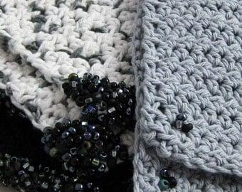 Stormy Night black and grey set of six crochet beaded coasters