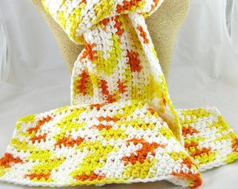 Candy Corn 100% cotton long crochet scarf