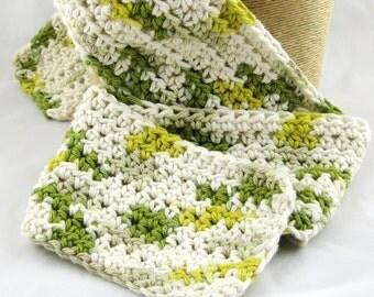 Kid Size Guacamole 100% cotton long crochet scarf