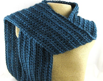 Calypso deep caribbean blue Alpaca Blend Crochet Scarf ... awesome for men or women