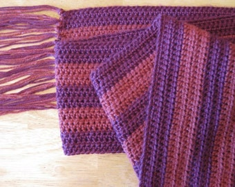 Plum Berry Wine ... luxe bamboo and silk crochet striped scarf ... resplendent drape and feel