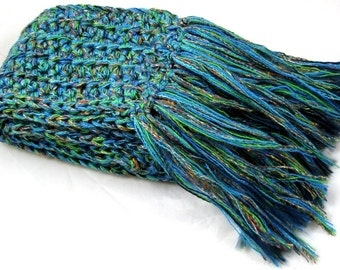 Escape To Tahiti with this unbelievable wool blend crocheted scarf .... made with dj runnels fiber artist yarn