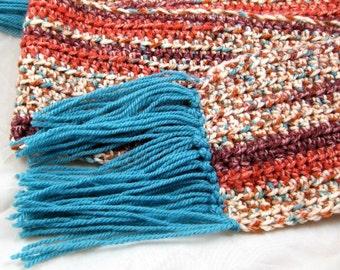 Arizona Wool Blend Multicolor Crochet Scarf