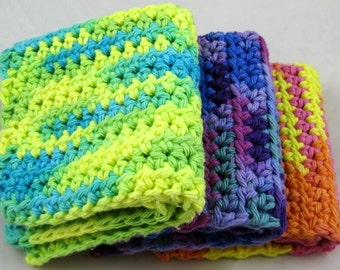 Candy Store Colorful 100 percent Cotton Scrubbies Set of Three Version 1