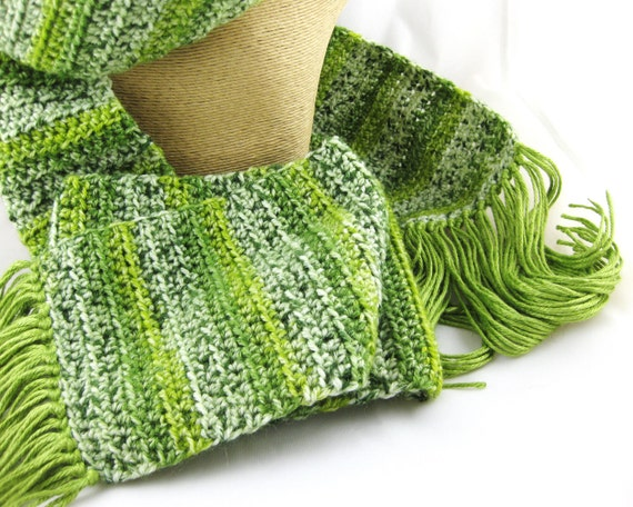 Lemongrass multi green striped wool bamboo acrylic silk crochet scarf super long and wide too