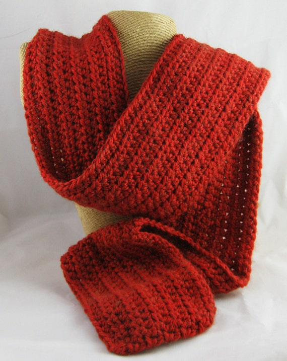 Be My Valentine Chile Pepper Red Alpaca Blend Crochet Scarf ... awesome for men or women