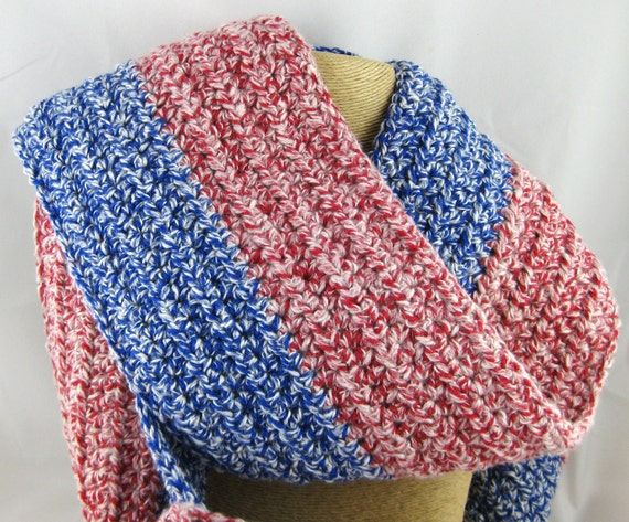 Bicolor Bipartisan Americana Red and Blue cotton blend crochet scarf