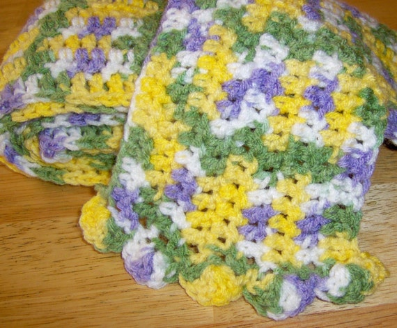 Daffodil Spring Crochet Scarf ... an uplifting creation in yellow white lavender and green